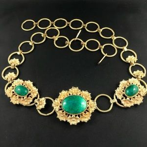 Vintage chunky gold metal and green stone belt
